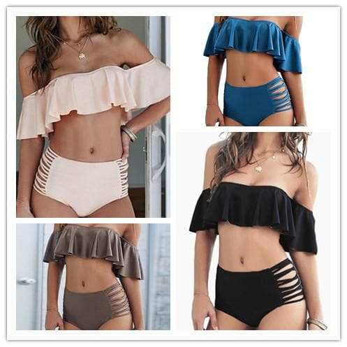 4 Colors Sweet Falbala Two-Piece Bikini Swimsuit SP1812072