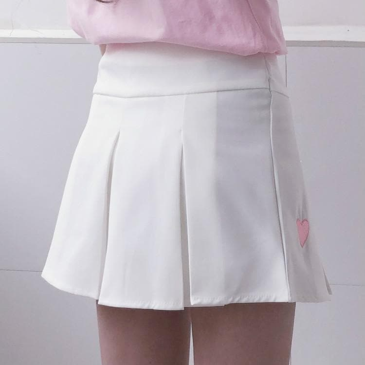 4 Colors Sweet Heart Embroidery Pleated Skirt SP1812446