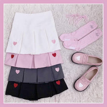 Load image into Gallery viewer, 4 Colors Sweet Heart Embroidery Pleated Skirt SP1812446