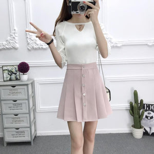 4 Colors Sweet High Waist Pleated Skirt SP1812345