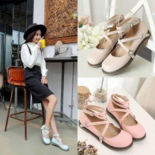 4 Colors Sweet Lolita Straps Shoes SP179435