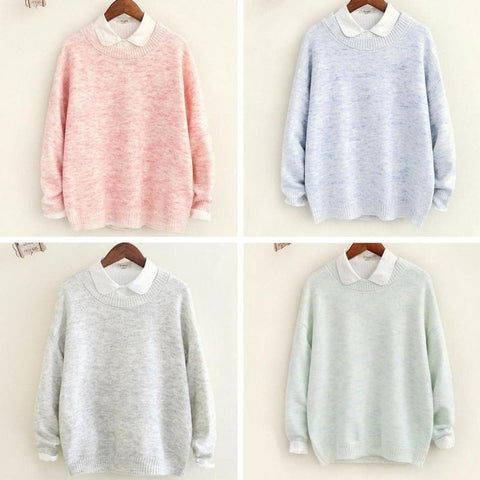 4 Colors Sweet Loose Leisure Knitting Sweater Shirt SP168234