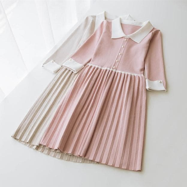 4 Colors Sweet Preppy Style Pleated Dress SP179166