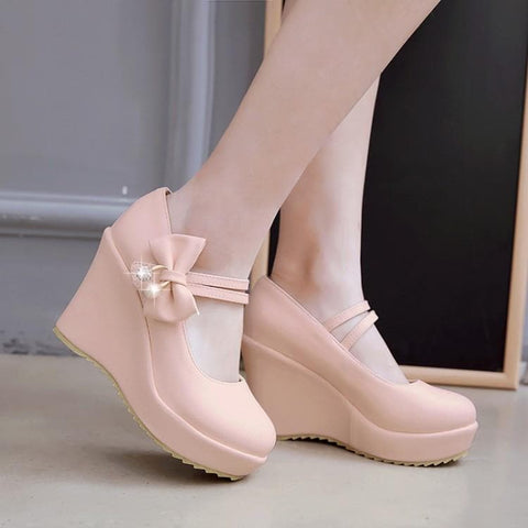 4 Colors Twin Strap Bow Wedge Velcro Heels Shoes SP179057