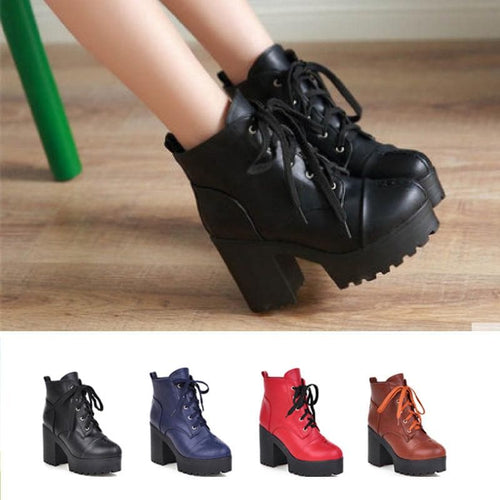 4 Colors Warming High Heel Bandage Boots SP168505