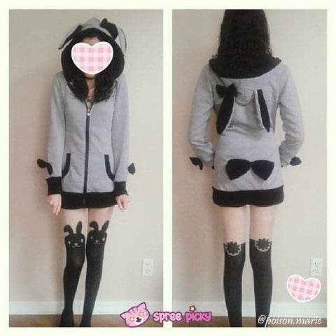 Pink/Black/White/Grey 4 Colours Thin Fleece Bunny Hoodie Long Coat Jacket  SP141287 - SpreePicky  - 2