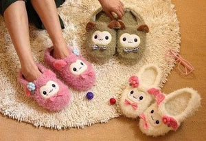 4 colors Kawaii Cutie Animal Alpaca Fleece Home Slippers SP153521 - SpreePicky  - 3