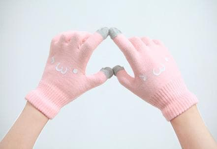 [5 Colors 6 Emoji] Unisex Adorable Emoji Touch-Sensitive Thick and Fleece Gloves SP141612 - SpreePicky  - 12