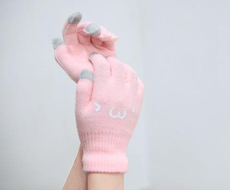[5 Colors 6 Emoji] Unisex Adorable Emoji Touch-Sensitive Thick and Fleece Gloves SP141612 - SpreePicky  - 13
