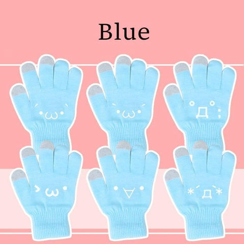 [5 Colors 6 Emoji] Unisex Adorable Emoji Touch-Sensitive Thick and Fleece Gloves SP141612 - SpreePicky  - 5