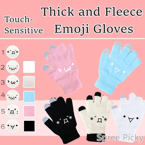 [5 Colors 6 Emoji] Unisex Adorable Emoji Touch-Sensitive Thick and Fleece Gloves SP141612