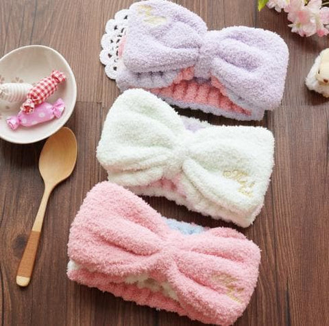 6 Colors Big Bow Fleece Hair Band For Make Up SP164927 - SpreePicky  - 3