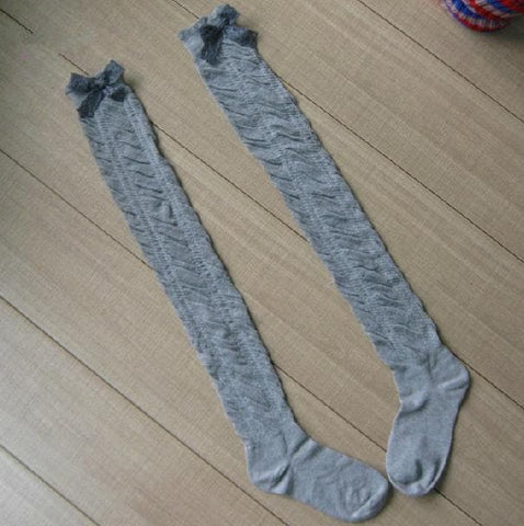 5 Colors Bowknot Thigh High Long Socks SP153529 - SpreePicky  - 6