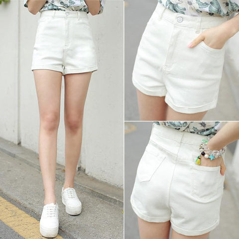 5 Colors High Waist Slim Fit Jean Shorts SP166234