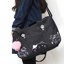 Load image into Gallery viewer, Black/Pink Kawaii Cat Canvas Bag SP1812487