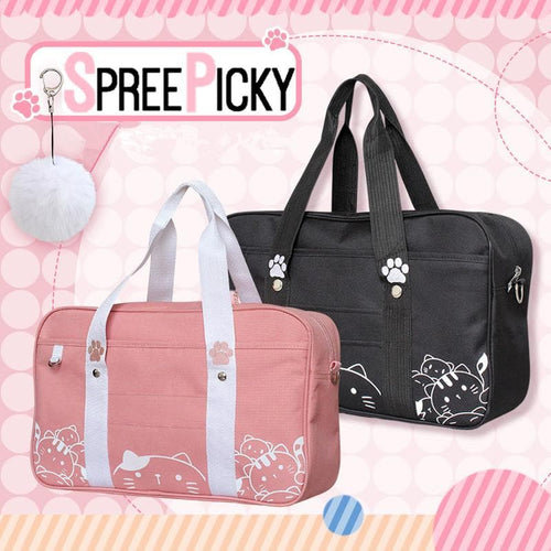 Black/Pink Kawaii Cat Canvas Bag SP1812487