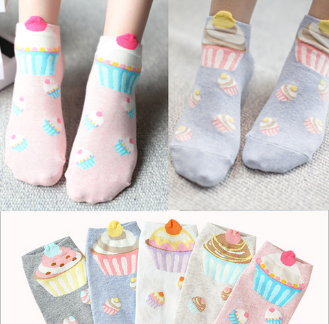 5 Colors Kawaii Cup Cake Socks SP167751