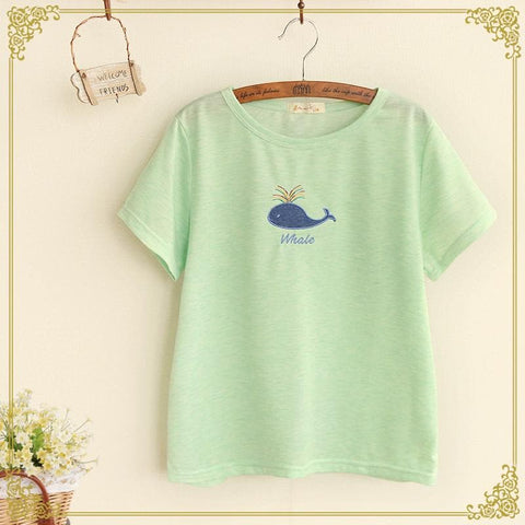 5 Colors Kawaii Whale Loose T-shirt SP166960