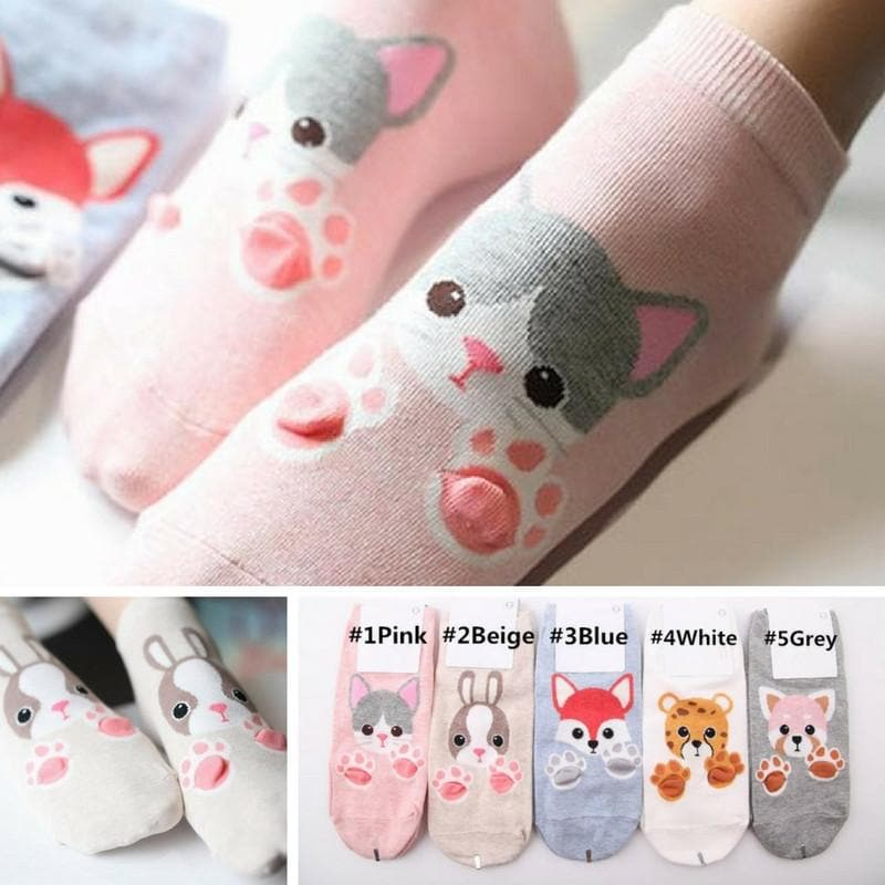5 Colors Cute Animal Paw Socks SP167749