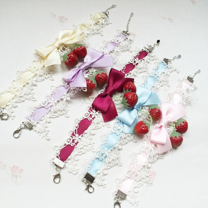 5 Colors Strawberry Lace Bracelet/Choker SP166666