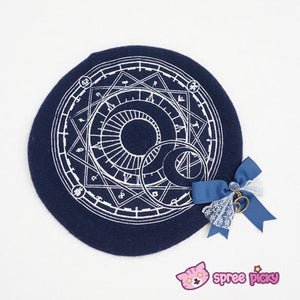 6 Colors Card Captor Sakura Magic Circle Beret Cap with Little Bow SP151781 - SpreePicky  - 10