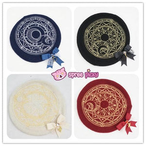 6 Colors Card Captor Sakura Magic Circle Beret Cap with Little Bow SP151781 - SpreePicky  - 2