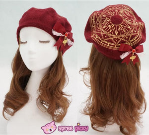 6 Colors Card Captor Sakura Magic Circle Beret Cap with Little Bow SP151781 - SpreePicky  - 5