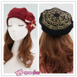6 Colors Card Captor Sakura Magic Circle Beret Cap with Little Bow SP151781 - SpreePicky  - 6