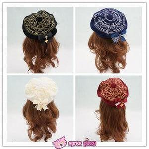 6 Colors Card Captor Sakura Magic Circle Beret Cap with Little Bow SP151781 - SpreePicky  - 4