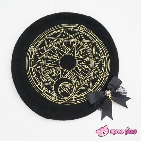 6 Colors Card Captor Sakura Magic Circle Beret Cap with Little Bow SP151781 - SpreePicky  - 8