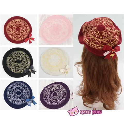 6 Colors Card Captor Sakura Magic Circle Beret Cap with Little Bow SP151781