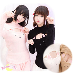 [4 Colors] Cute Sexy Neko Cat Ears Embroidery Open Chest High Collar Bottoming Sweater SP151641 - SpreePicky  - 4