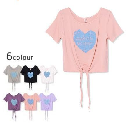 6 Colors Loose Crop Top Short Exposed Navel T-shirt SP152091 - SpreePicky  - 1