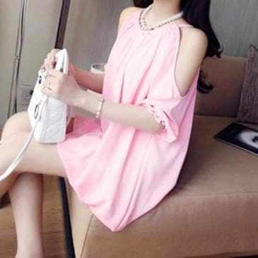 6 Colors Short Sleeve Off Shoulder Suspender Dress SP165620