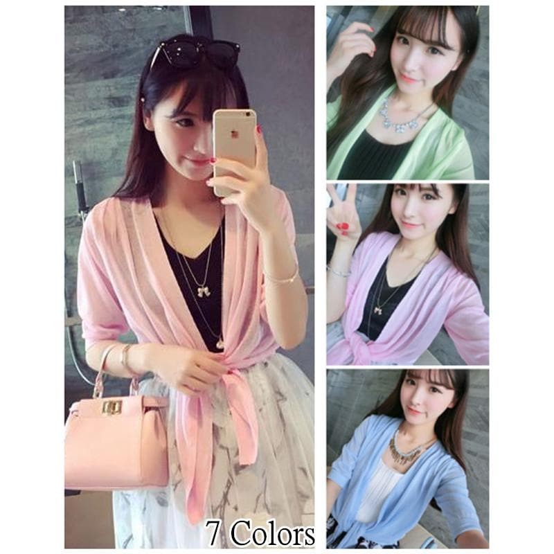 7 Candy Colors  Thin Cardigan Shawls Coat SP152018 - SpreePicky  - 1