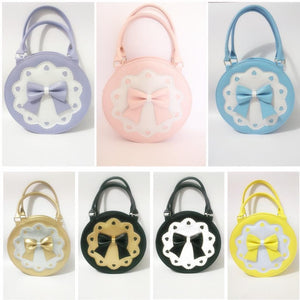 7 Colors Lolita Bowknot Round Cylinder PU Hand Bag SP140345 - SpreePicky  - 2