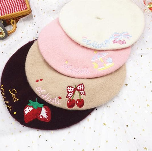 7 Colors Sweet Printing Woolen Beret SP1711410