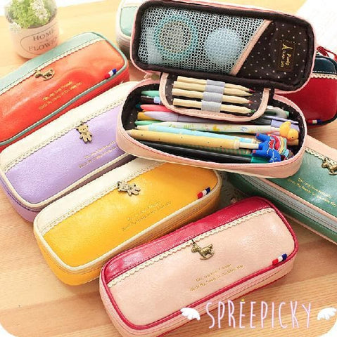 [8 Colors] K-Fashion Big Volume Pencil PU Case Bag SP151629 - SpreePicky  - 1
