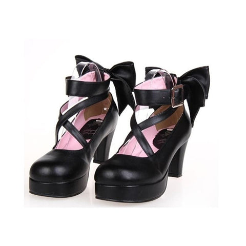 [EU 34-47] 8 Colors Lolita Princess Bow Platform High Heel Shoes SP152166 - SpreePicky  - 2