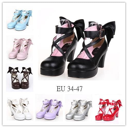[EU 34-47] 8 Colors Lolita Princess Bow Platform High Heel Shoes SP152166 - SpreePicky  - 1