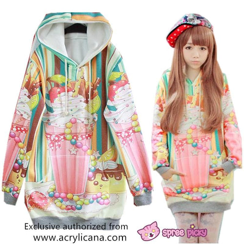 [Acrylicana Design] Milkshake-Sweetheart Winter Fleece Hoodie Sweater Jumper SP141597 - SpreePicky  - 1