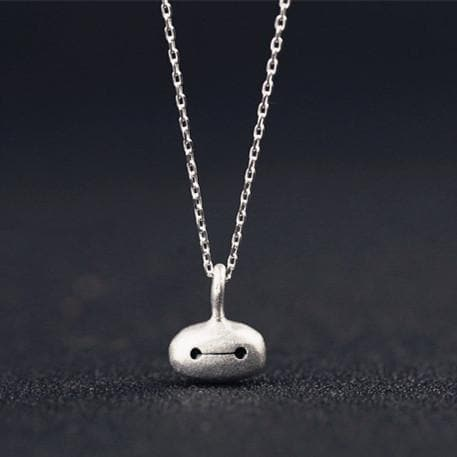 Adorable Big Hero Chibi Baymax Face Silver Necklace SP152023 - SpreePicky  - 1