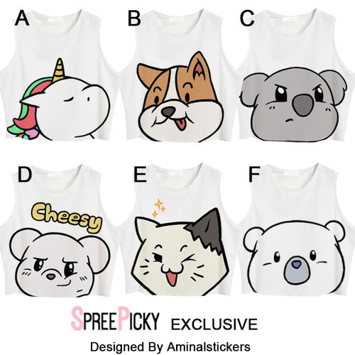 [Aminalstickers Design] Cute Animal Crop Top SP179301