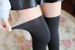 Basic Black Fake Over Knee Thigh High Fleece Footless Tights SP154136 - SpreePicky  - 5