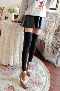 Basic Black Fake Over Knee Thigh High Fleece Footless Tights SP154136 - SpreePicky  - 4