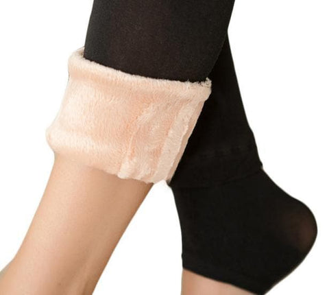 Basic Fake Over Knee Thigh High Fleece Footless Tights SP153990 - SpreePicky  - 4