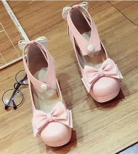 Beige/Black/Pink Lolita Bowknot Rough Heels Shoes SP179192