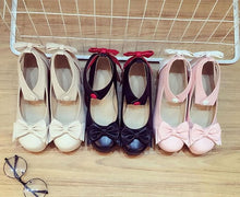 Load image into Gallery viewer, Beige/Black/Pink Lolita Bowknot Rough Heels Shoes SP179192
