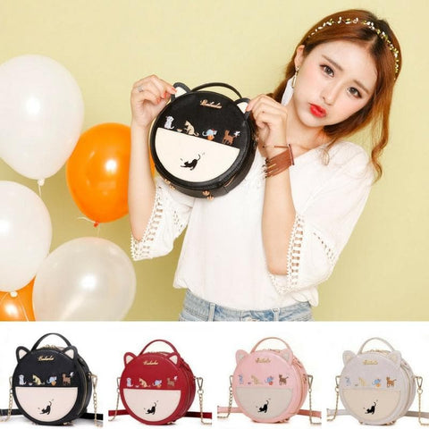 Beige/Black/Red/Pink Kawaii Cat Round Bag SP1811957