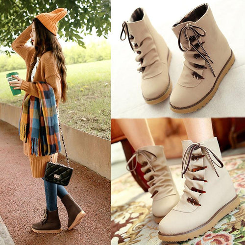 Beige/Brown/Green Casual Short Boots SP178753